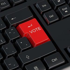 Vote red keyboard button